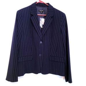 NWT Nine West navy pinstripe 2 button blazer